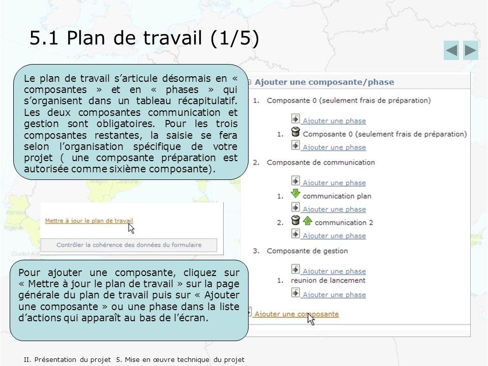 5.1 Plan de travail (1/5) Le plan de travail sarticule désormais en « composantes » et en « phases » qui sorganisent dans un tableau récapitulatif.