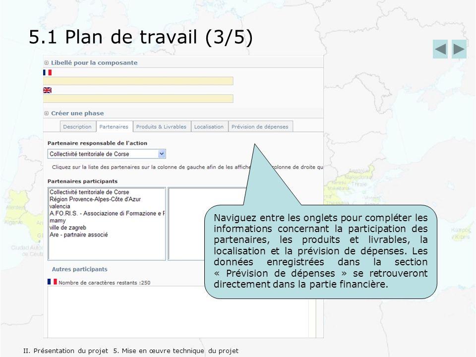 5.1 Plan de travail (3/5) Naviguez entre les onglets pour compléter les informations concernant la participation des partenaires, les produits et livrables, la localisation et la prévision de dépenses.
