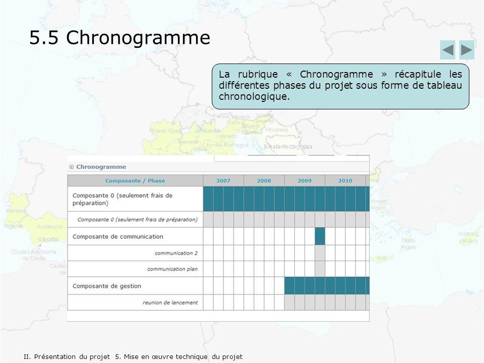 5.5 Chronogramme La rubrique « Chronogramme » récapitule les différentes phases du projet sous forme de tableau chronologique.