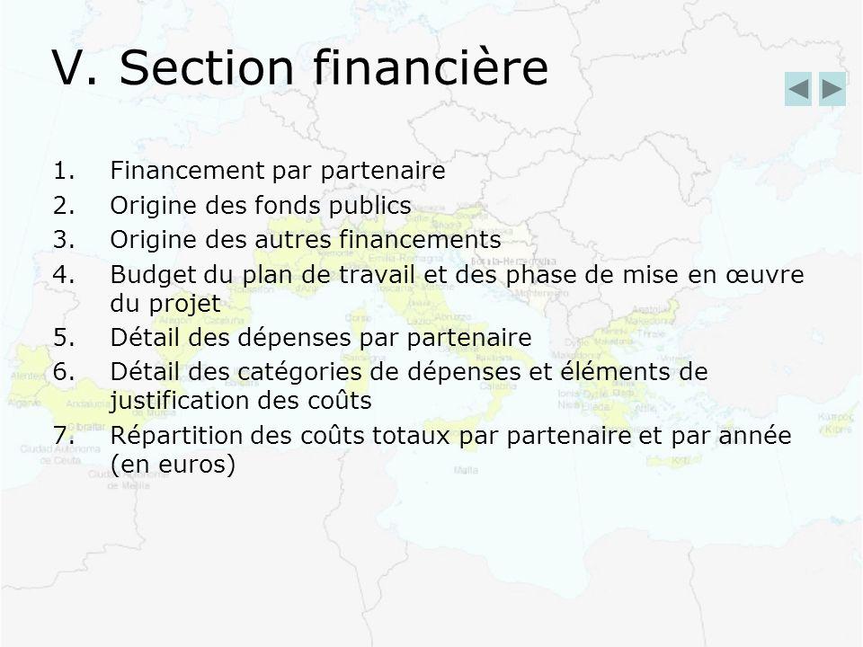 V. Section financière 1.Financement par partenaire 2.Origine des fonds publics 3.Origine des autres financements 4.Budget du plan de travail et des ph