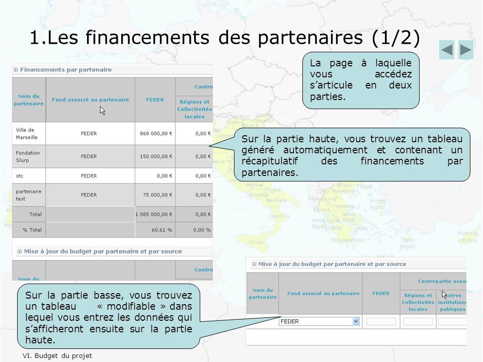 1.Les financements des partenaires (1/2) Sur la partie haute, vous trouvez un tableau généré automatiquement et contenant un récapitulatif des financements par partenaires.