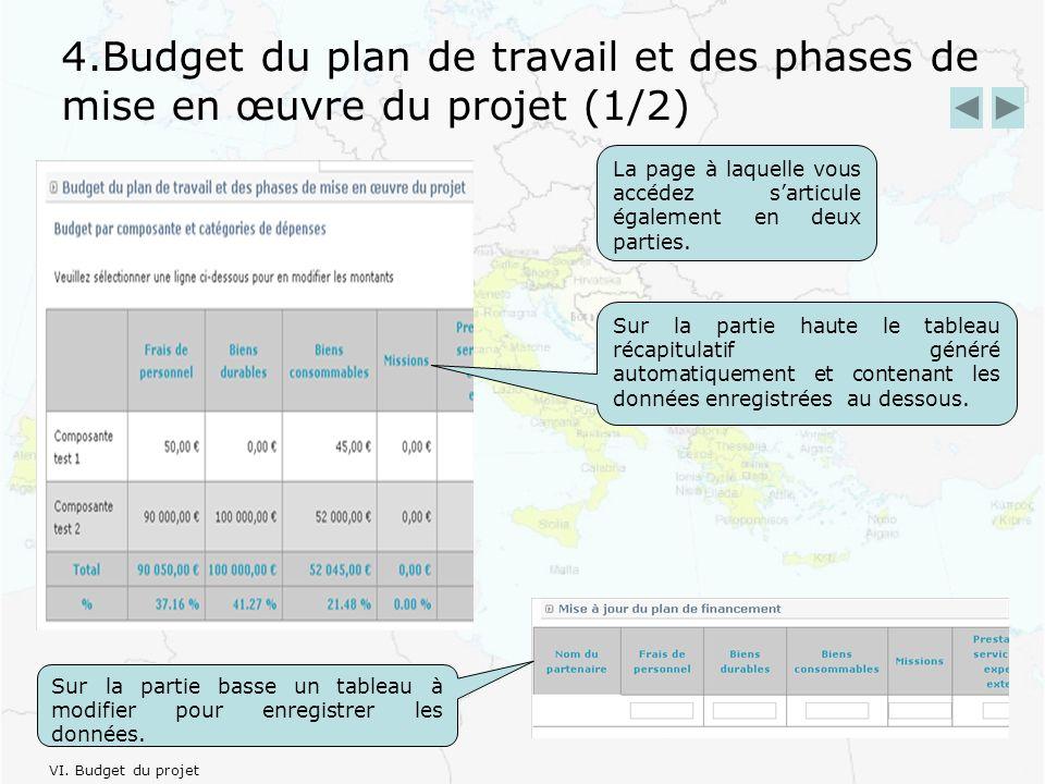 4.Budget du plan de travail et des phases de mise en œuvre du projet (1/2) La page à laquelle vous accédez sarticule également en deux parties.