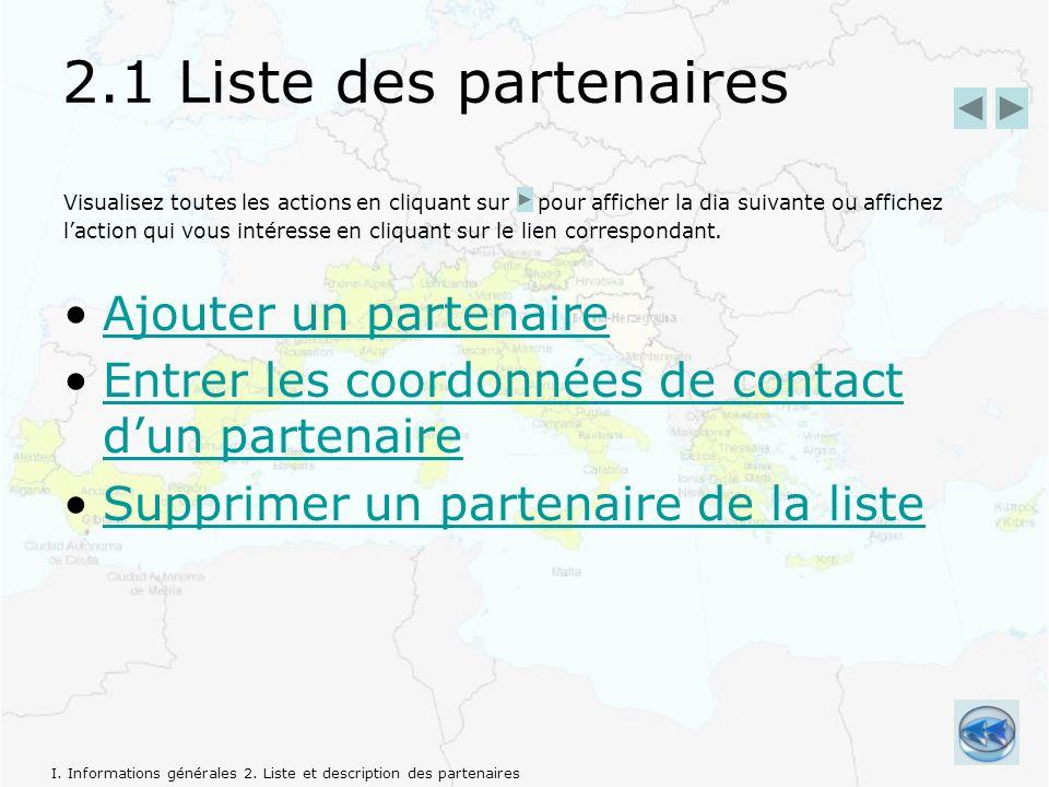 2.1 Liste des partenaires Visualisez toutes les actions en cliquant sur pour afficher la dia suivante ou affichez laction qui vous intéresse en cliquant sur le lien correspondant.