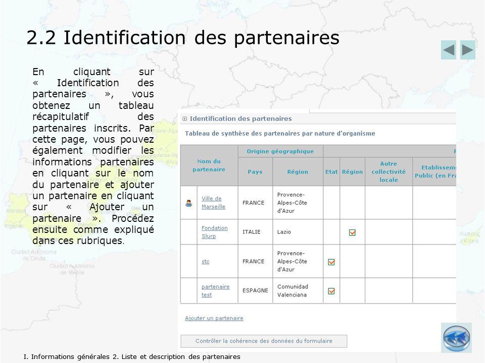 2.2 Identification des partenaires En cliquant sur « Identification des partenaires », vous obtenez un tableau récapitulatif des partenaires inscrits.