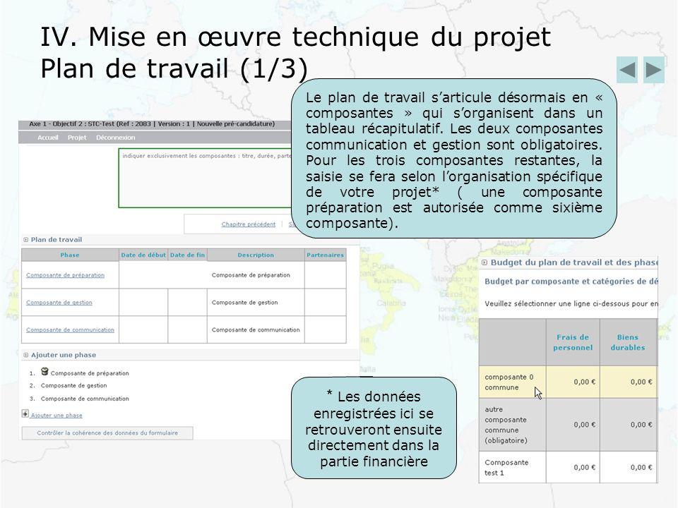 IV. Mise en œuvre technique du projet Plan de travail (1/3) Le plan de travail sarticule désormais en « composantes » qui sorganisent dans un tableau