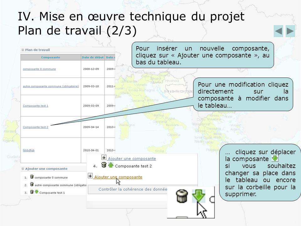 IV. Mise en œuvre technique du projet Plan de travail (2/3) Pour insérer un nouvelle composante, cliquez sur « Ajouter une composante », au bas du tab