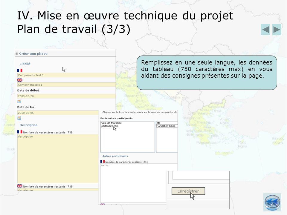 IV. Mise en œuvre technique du projet Plan de travail (3/3) Remplissez en une seule langue, les données du tableau (750 caractères max) en vous aidant