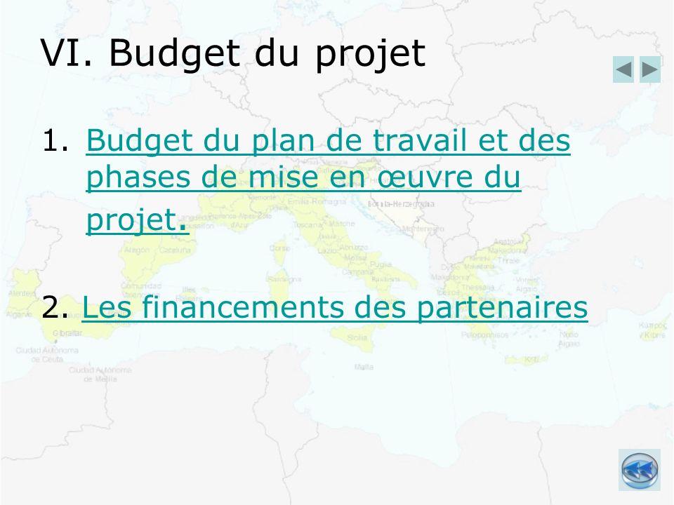 VI. Budget du projet 1.Budget du plan de travail et des phases de mise en œuvre du projet.Budget du plan de travail et des phases de mise en œuvre du