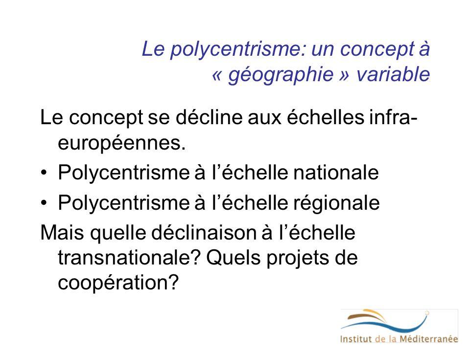 Le polycentrisme: un concept à « géographie » variable Le concept se décline aux échelles infra- européennes. Polycentrisme à léchelle nationale Polyc