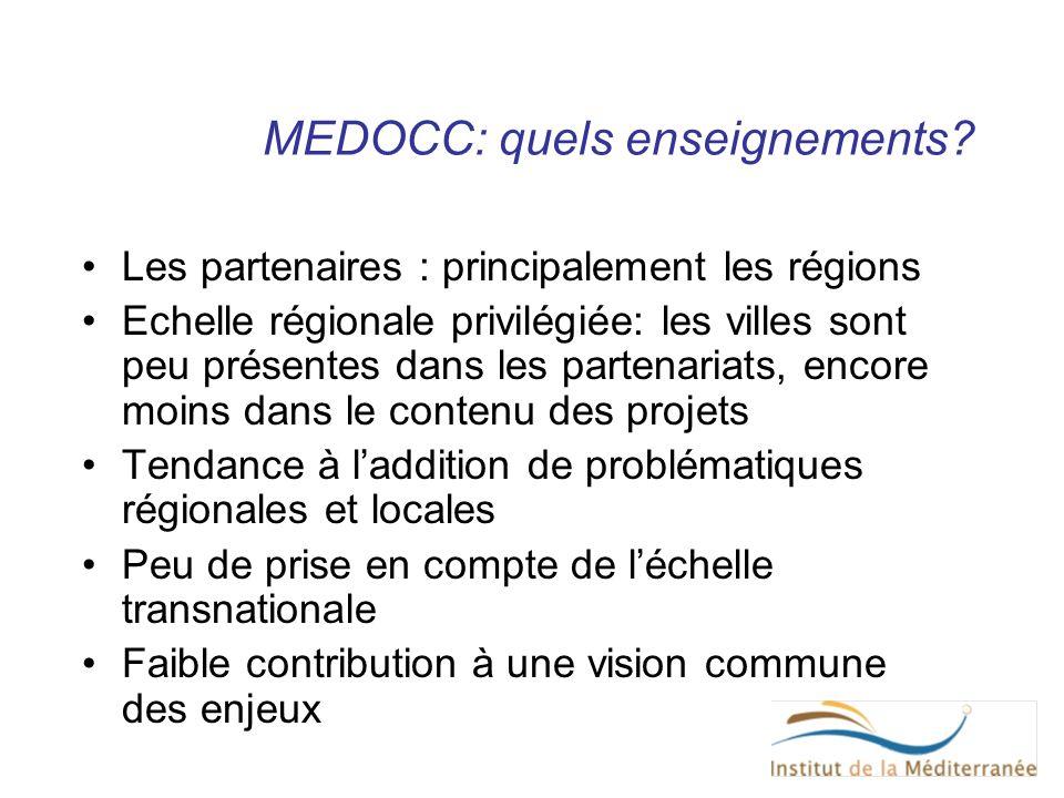 MEDOCC: quels enseignements? Les partenaires : principalement les régions Echelle régionale privilégiée: les villes sont peu présentes dans les parten