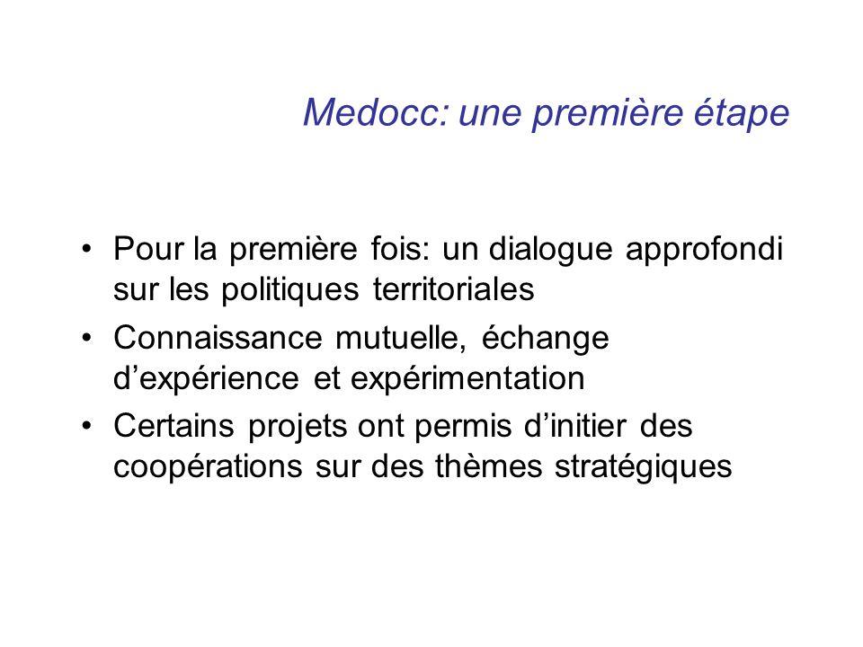 Medocc: une première étape Pour la première fois: un dialogue approfondi sur les politiques territoriales Connaissance mutuelle, échange dexpérience e