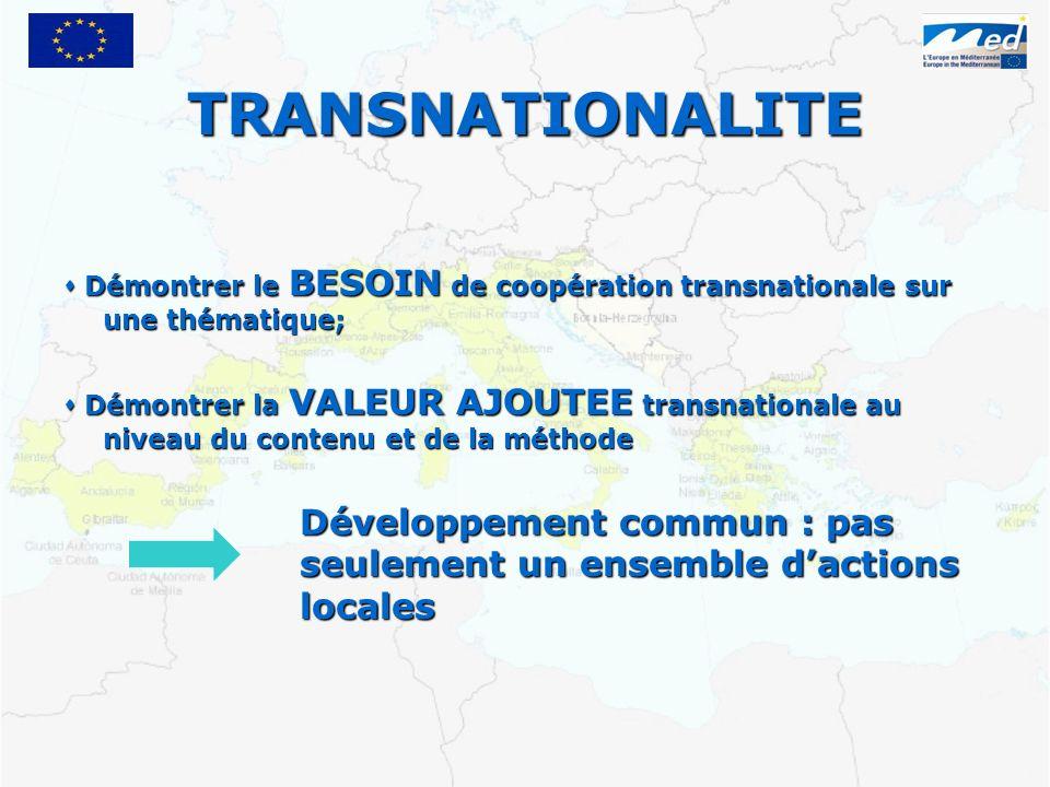 TRANSNATIONALITE Démontrer le BESOIN de coopération transnationale sur une thématique; Démontrer le BESOIN de coopération transnationale sur une thématique; Démontrer la VALEUR AJOUTEE transnationale au niveau du contenu et de la méthode Démontrer la VALEUR AJOUTEE transnationale au niveau du contenu et de la méthode Développement commun : pas seulement un ensemble dactions locales