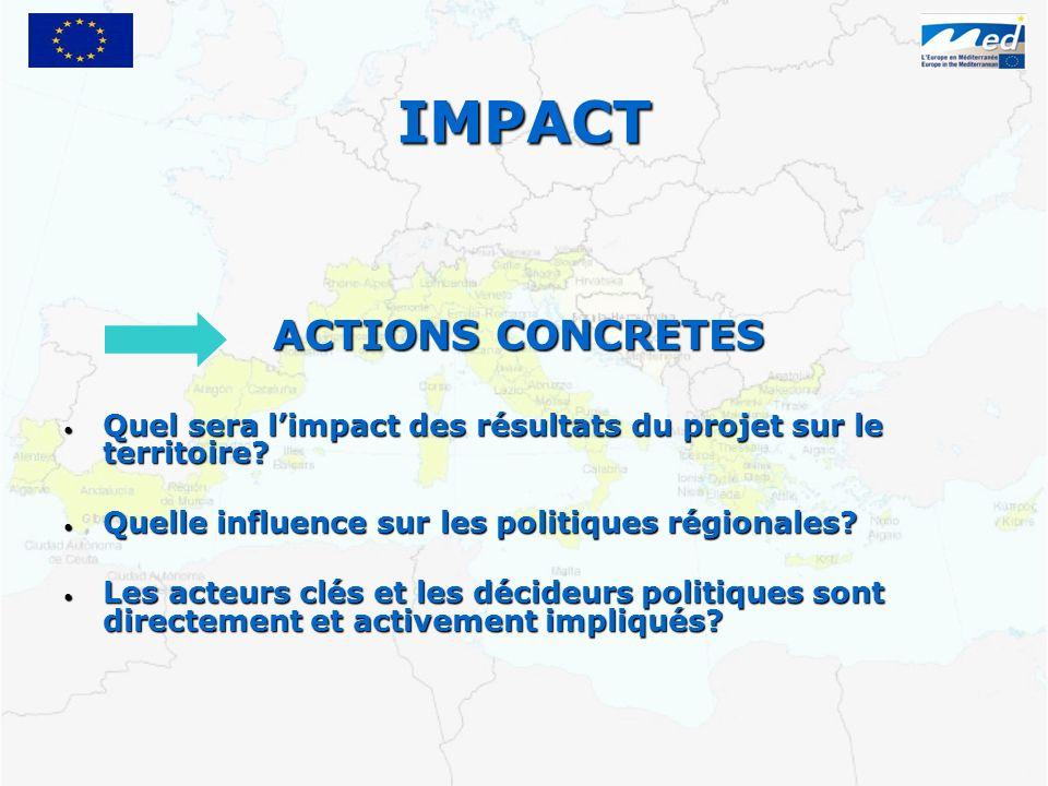 IMPACT ACTIONS CONCRETES Quel sera limpact des résultats du projet sur le territoire.