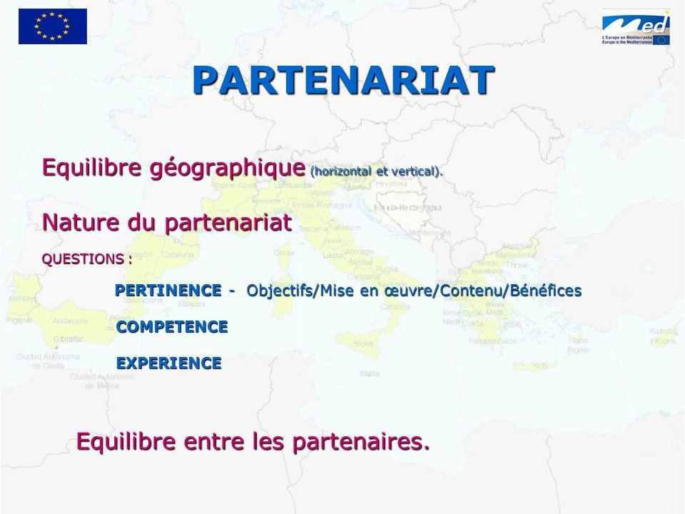 PARTENARIAT Equilibre géographique (horizontal et vertical).