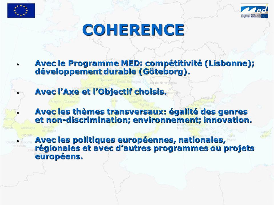 COHERENCE Avec le Programme MED: compétitivité (Lisbonne); développement durable (Göteborg).