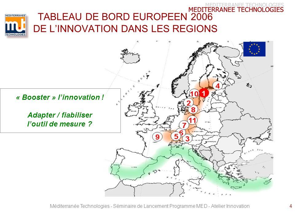 Méditerranée Technologies - Séminaire de Lancement Programme MED - Atelier Innovation4 TABLEAU DE BORD EUROPEEN 2006 DE LINNOVATION DANS LES REGIONS « Booster » linnovation .