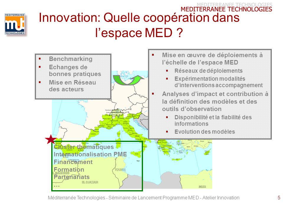 Méditerranée Technologies - Séminaire de Lancement Programme MED - Atelier Innovation5 Innovation: Quelle coopération dans lespace MED .