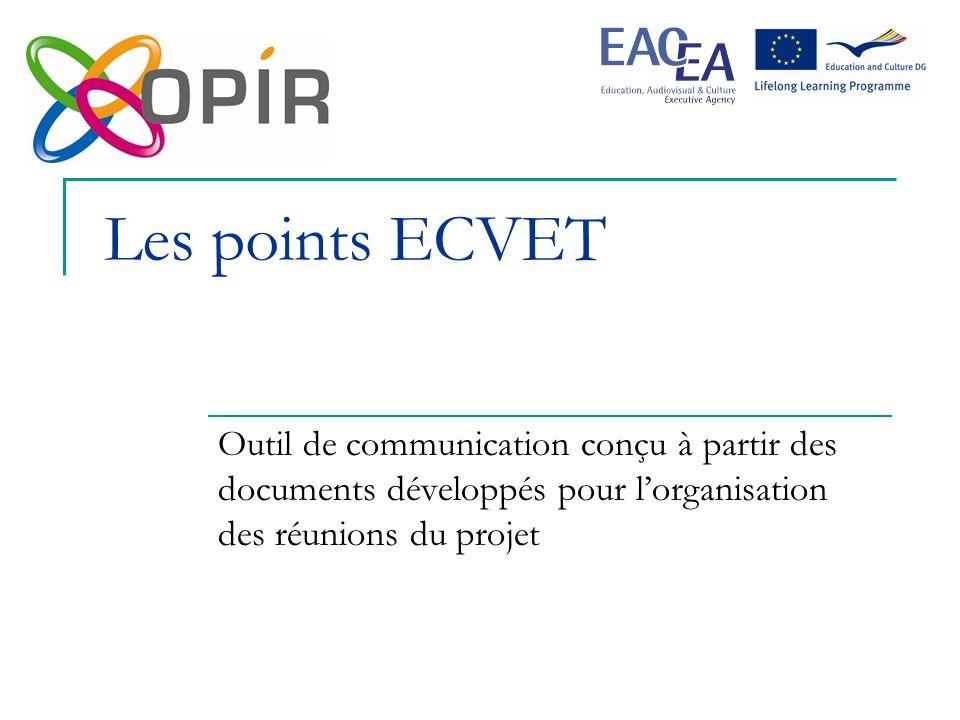 Les points ECVET Outil de communication conçu à partir des documents développés pour lorganisation des réunions du projet