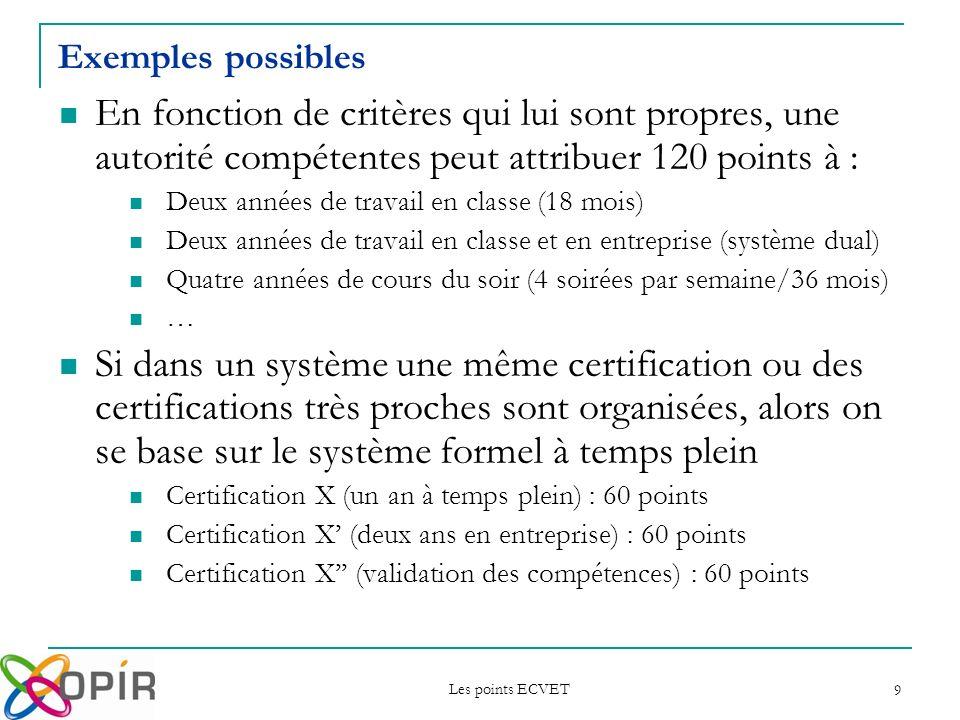 Les points ECVET 10 Système 1Système 2Système 3Système 4 120 150 Unité X OPIR Unité Y Unité K Unité H Unité O Unité X OPIR Unité K Unité Y Unité O Unité K Unité Y Unité K Unité H Unité O 2.on prend en compte la certification telle quelle est vécue dans chaque système de FEP ; Dans deux pays, une même unité peut représenter une charge de travail différente pour les apprenants.