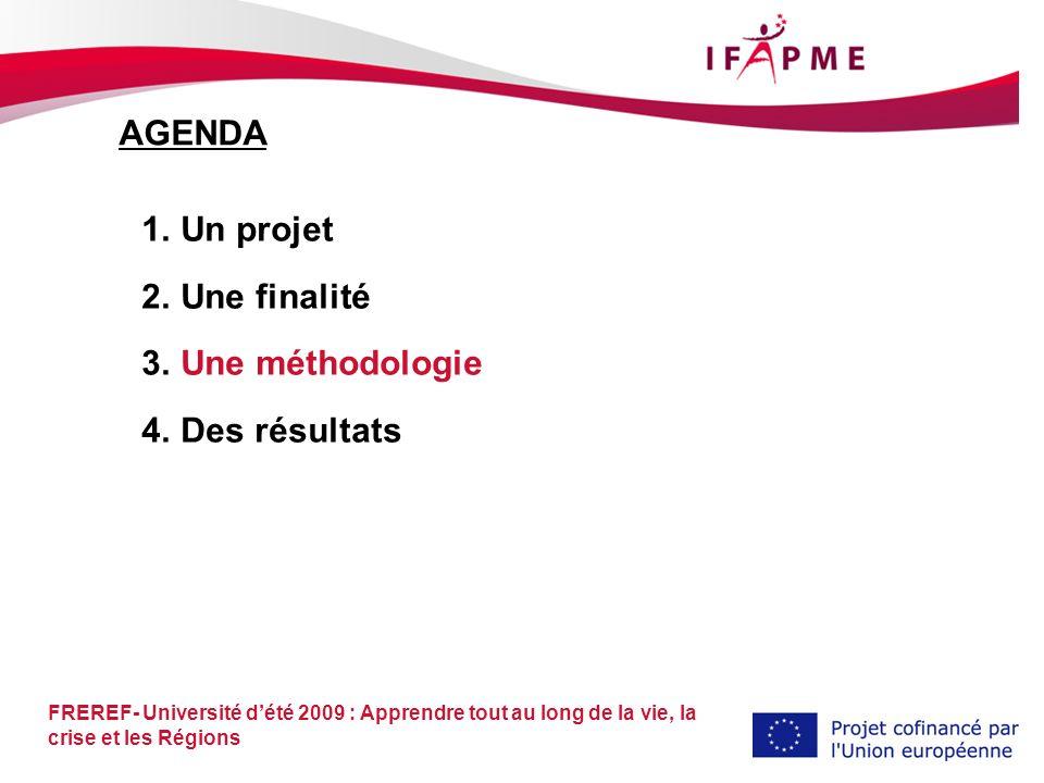 FREREF- Université dété 2009 : Apprendre tout au long de la vie, la crise et les Régions 1.Un projet 2.Une finalité 3.Une méthodologie 4.Des résultats AGENDA