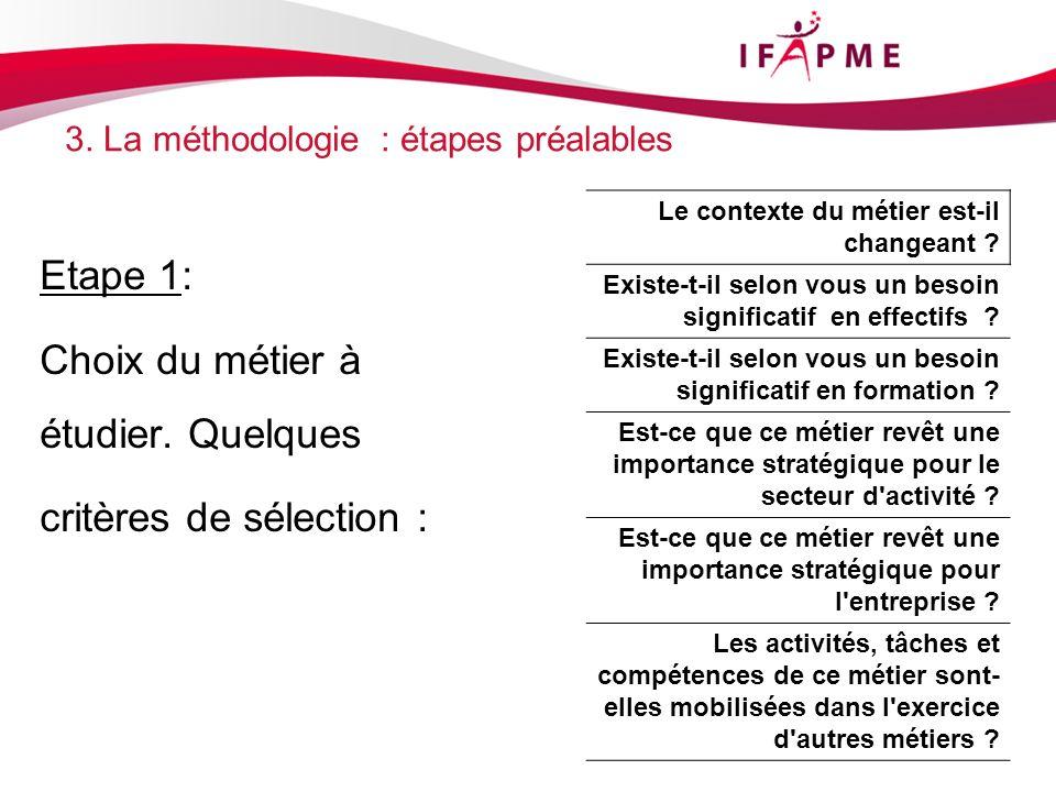 3. La méthodologie : étapes préalables Etape 1: Choix du métier à étudier.