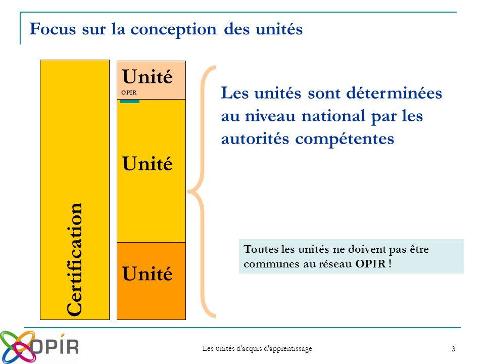 Les unités d acquis d apprentissage 3 Certification Unité OPIR Unité Les unités sont déterminées au niveau national par les autorités compétentes Toutes les unités ne doivent pas être communes au réseau OPIR .