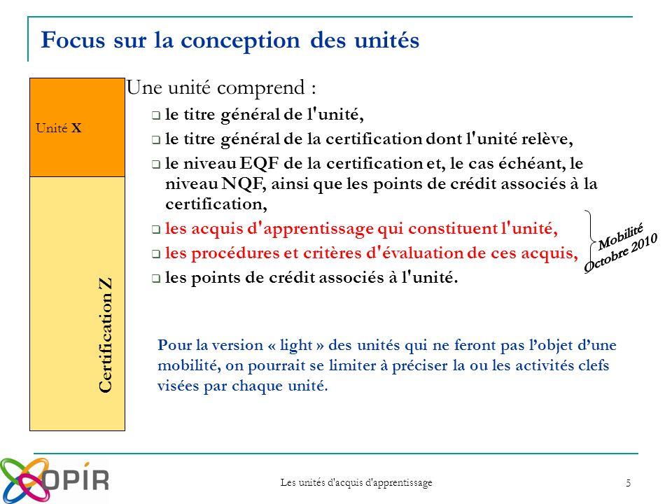 Les unités d acquis d apprentissage 5 Unité X Certification Z Une unité comprend : le titre général de l unité, le titre général de la certification dont l unité relève, le niveau EQF de la certification et, le cas échéant, le niveau NQF, ainsi que les points de crédit associés à la certification, les acquis d apprentissage qui constituent l unité, les procédures et critères d évaluation de ces acquis, les points de crédit associés à l unité.