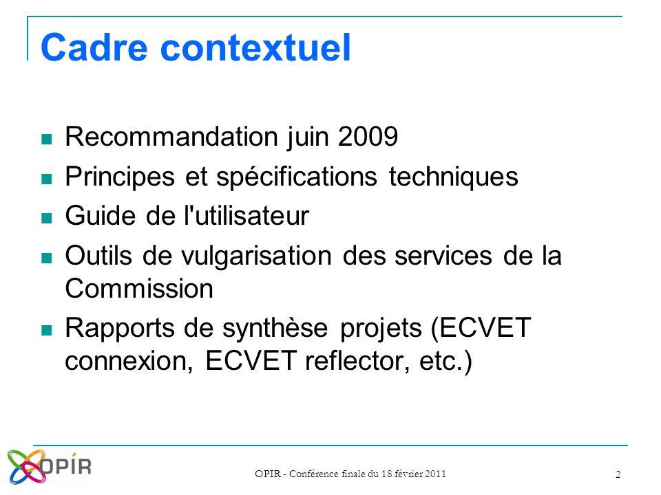 OPIR - Conférence finale du 18 février 2011 2 Cadre contextuel Recommandation juin 2009 Principes et spécifications techniques Guide de l'utilisateur