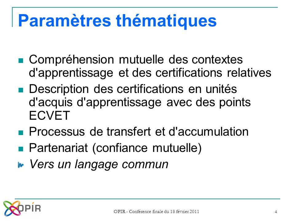 OPIR - Conférence finale du 18 février 2011 4 Paramètres t hématiques Compréhension mutuelle des contextes d'apprentissage et des certifications relat