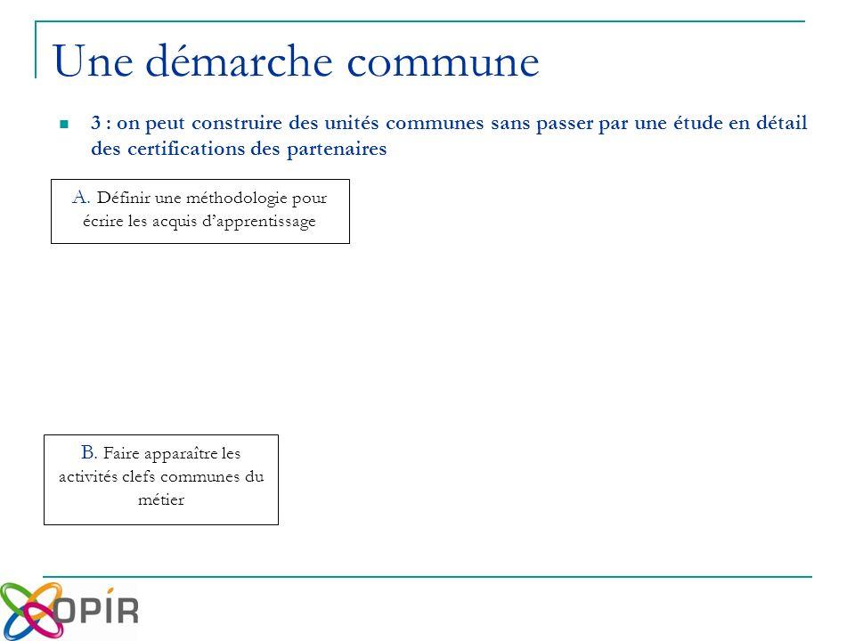 Une démarche commune 3 : on peut construire des unités communes sans passer par une étude en détail des certifications des partenaires B.
