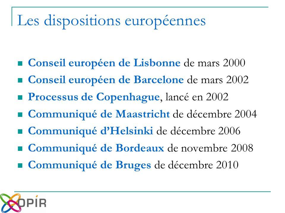 Conseil européen de Lisbonne de mars 2000 Conseil européen de Barcelone de mars 2002 Processus de Copenhague, lancé en 2002 Communiqué de Maastricht de décembre 2004 Communiqué dHelsinki de décembre 2006 Communiqué de Bordeaux de novembre 2008 Communiqué de Bruges de décembre 2010 Les dispositions européennes