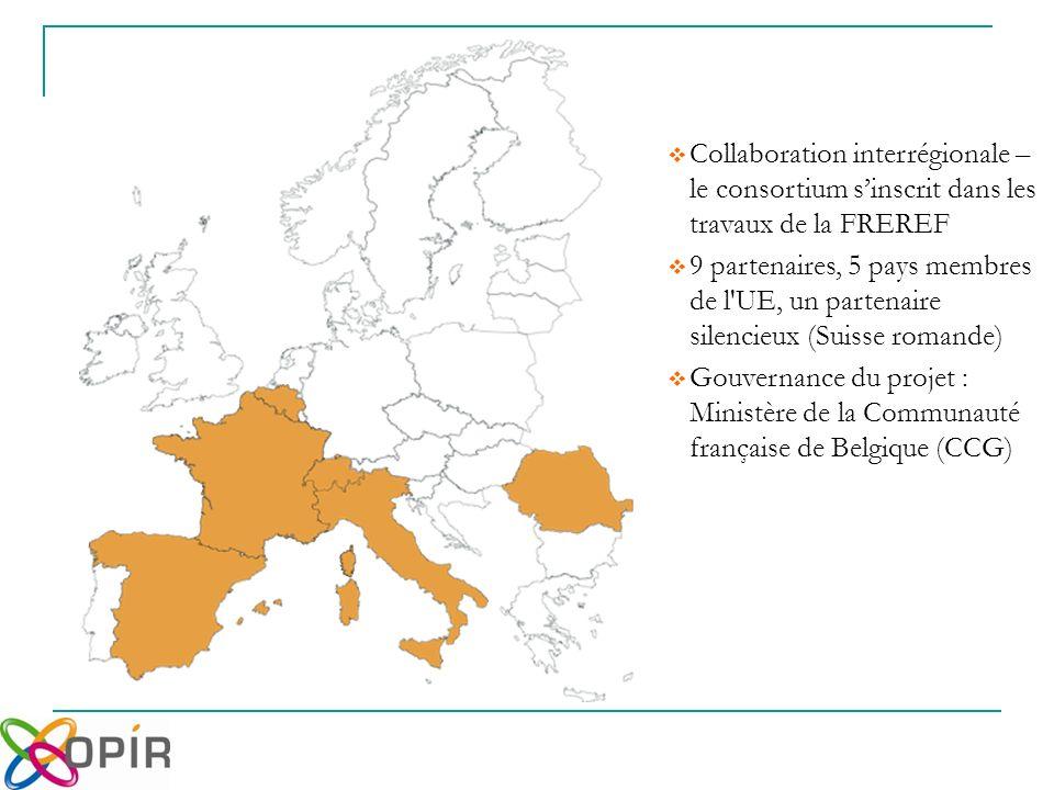 Collaboration interrégionale – le consortium sinscrit dans les travaux de la FREREF 9 partenaires, 5 pays membres de l UE, un partenaire silencieux (Suisse romande) Gouvernance du projet : Ministère de la Communauté française de Belgique (CCG)