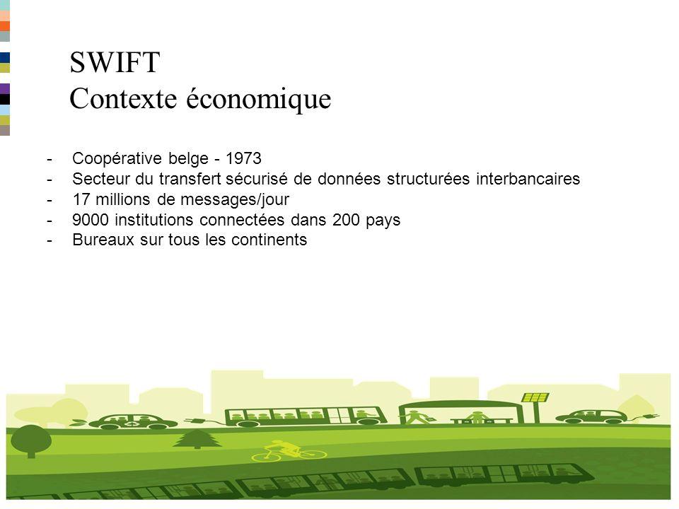 SWIFT Contexte belge 4 -4 Sites à La Hulpe (7000 habitants) -1000 employés et 850 voitures de sociéte -Budget de 10 millions EUR/an -Nouvelle politique voiture en 2012 -Deux leasers en concurrence -Budget flexible -Vélo et scooters électriques -Raillease -Ipad -…