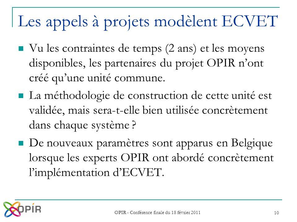 OPIR - Conférence finale du 18 février 2011 10 Vu les contraintes de temps (2 ans) et les moyens disponibles, les partenaires du projet OPIR nont créé quune unité commune.
