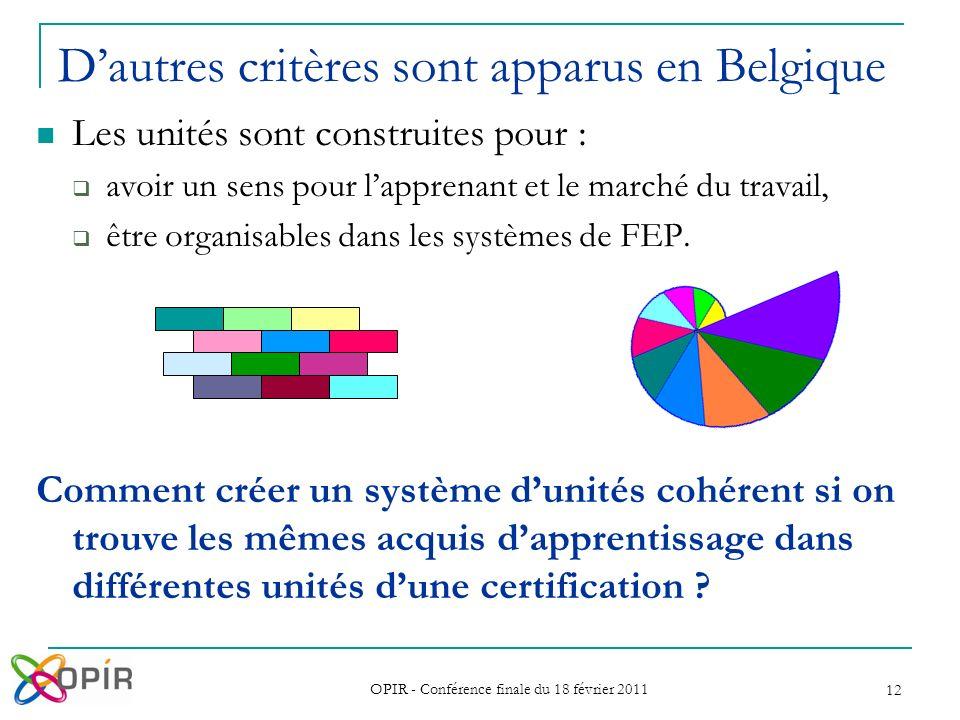 OPIR - Conférence finale du 18 février 2011 12 Les unités sont construites pour : avoir un sens pour lapprenant et le marché du travail, être organisables dans les systèmes de FEP.
