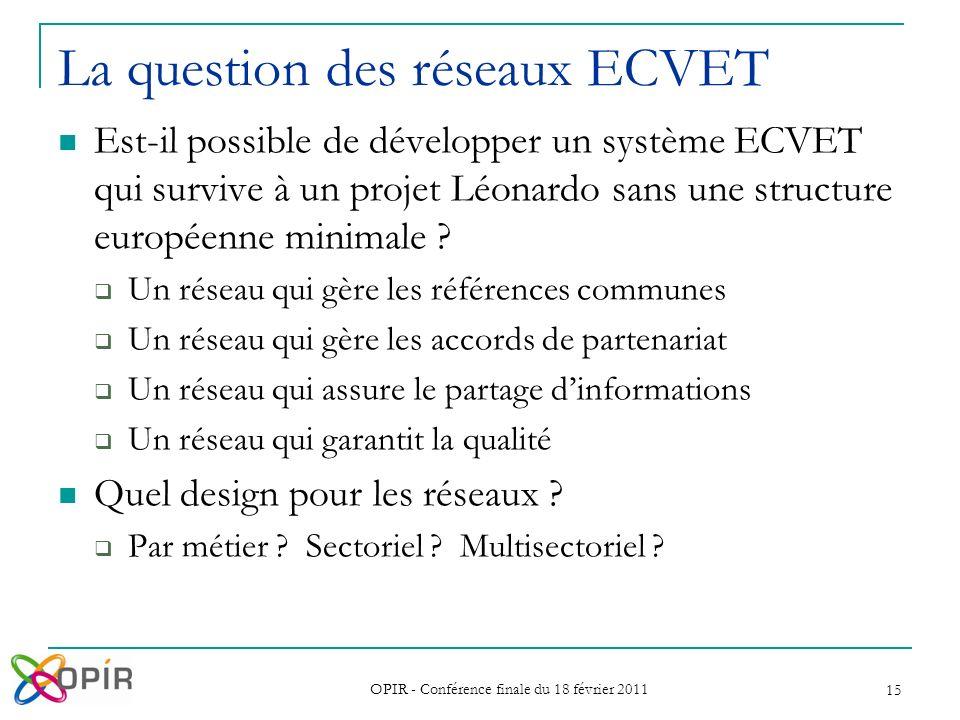 OPIR - Conférence finale du 18 février 2011 15 Est-il possible de développer un système ECVET qui survive à un projet Léonardo sans une structure euro