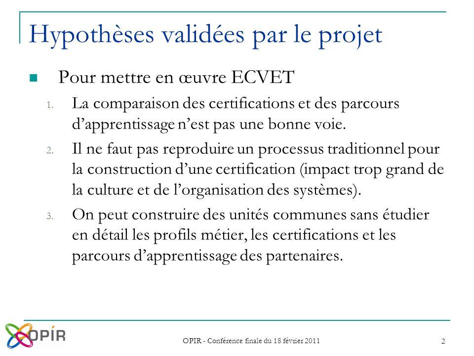 OPIR - Conférence finale du 18 février 2011 2 Hypothèses validées par le projet Pour mettre en œuvre ECVET 1. La comparaison des certifications et des