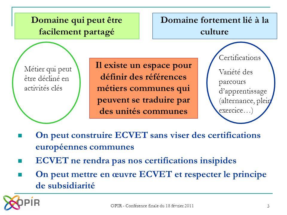 OPIR - Conférence finale du 18 février 2011 3 Certifications Variété des parcours dapprentissage (alternance, plein exercice…) Métier qui peut être dé
