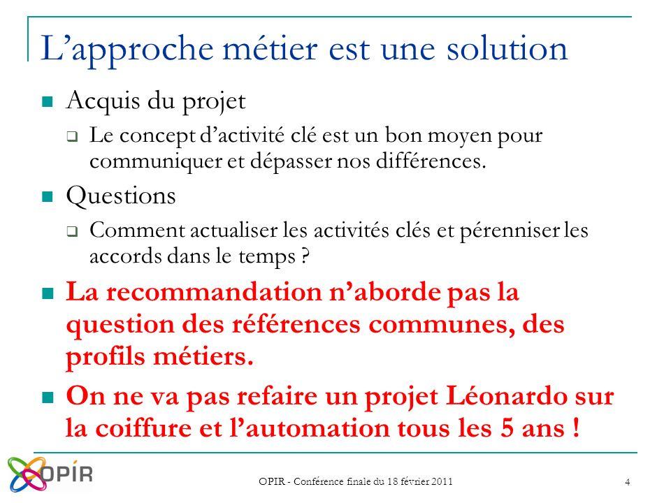 OPIR - Conférence finale du 18 février 2011 4 Lapproche métier est une solution Acquis du projet Le concept dactivité clé est un bon moyen pour communiquer et dépasser nos différences.