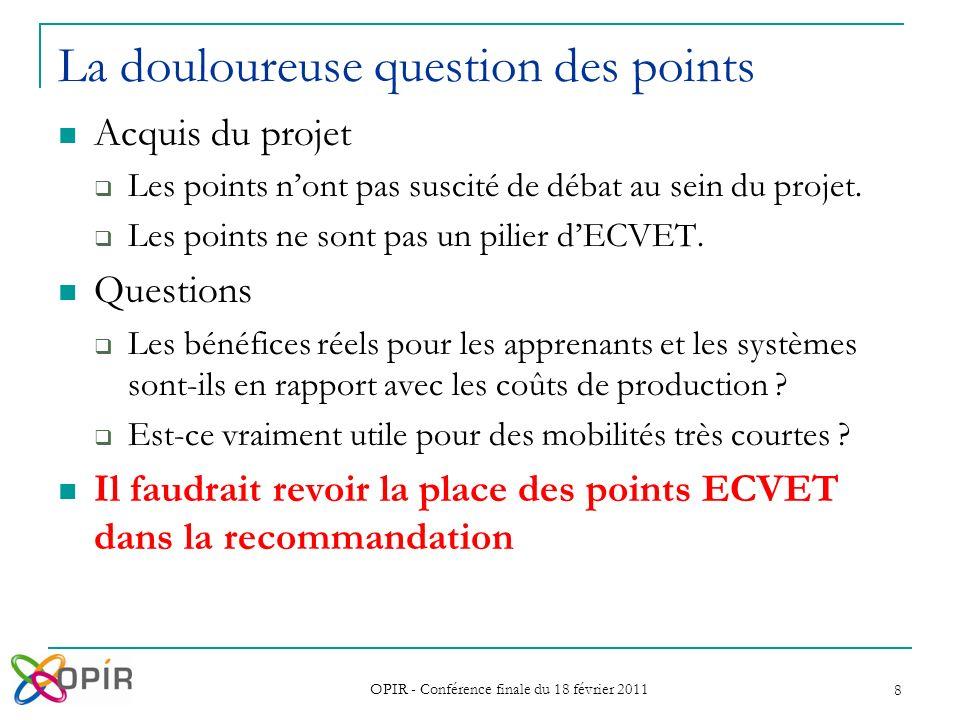 OPIR - Conférence finale du 18 février 2011 8 La douloureuse question des points Acquis du projet Les points nont pas suscité de débat au sein du projet.