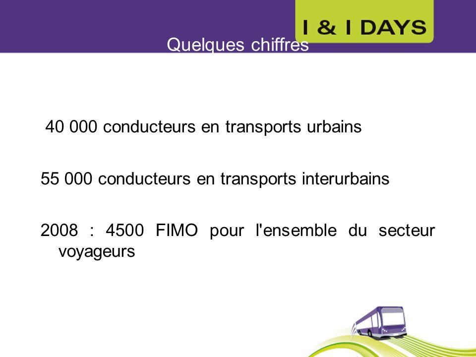 Quelques chiffres 40 000 conducteurs en transports urbains 55 000 conducteurs en transports interurbains 2008 : 4500 FIMO pour l'ensemble du secteur v