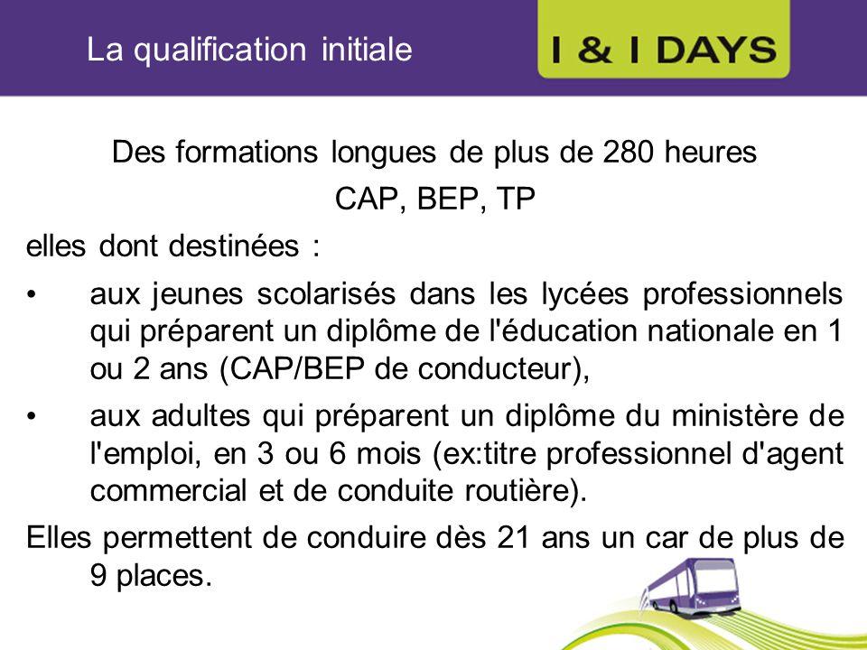 La qualification initiale Des formations longues de plus de 280 heures CAP, BEP, TP elles dont destinées : aux jeunes scolarisés dans les lycées profe
