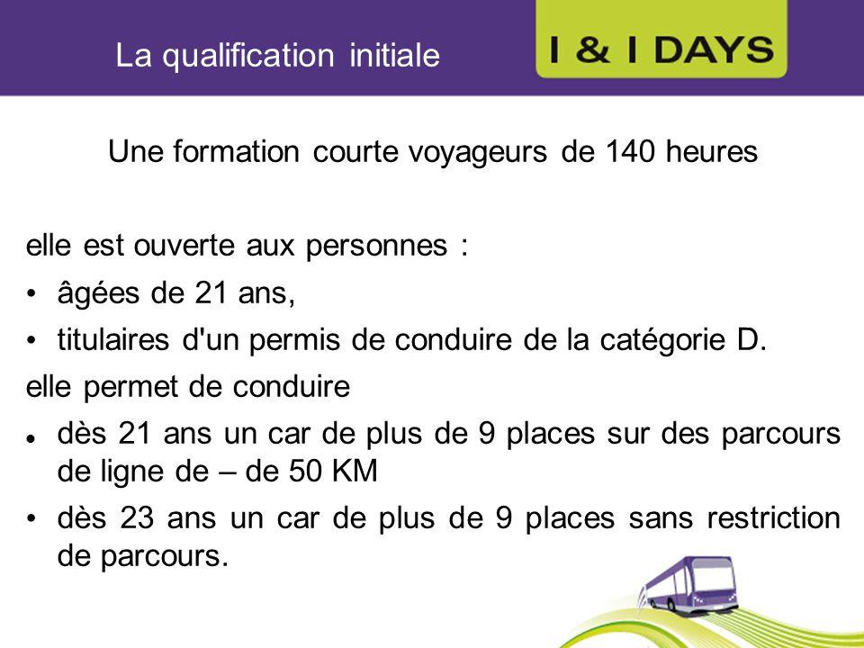 La qualification initiale Une formation courte voyageurs de 140 heures elle est ouverte aux personnes : âgées de 21 ans, titulaires d'un permis de con