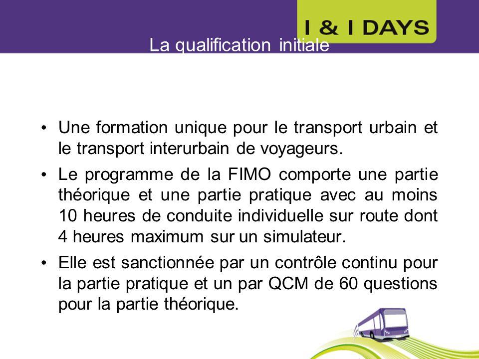 La qualification initiale Une formation unique pour le transport urbain et le transport interurbain de voyageurs. Le programme de la FIMO comporte une