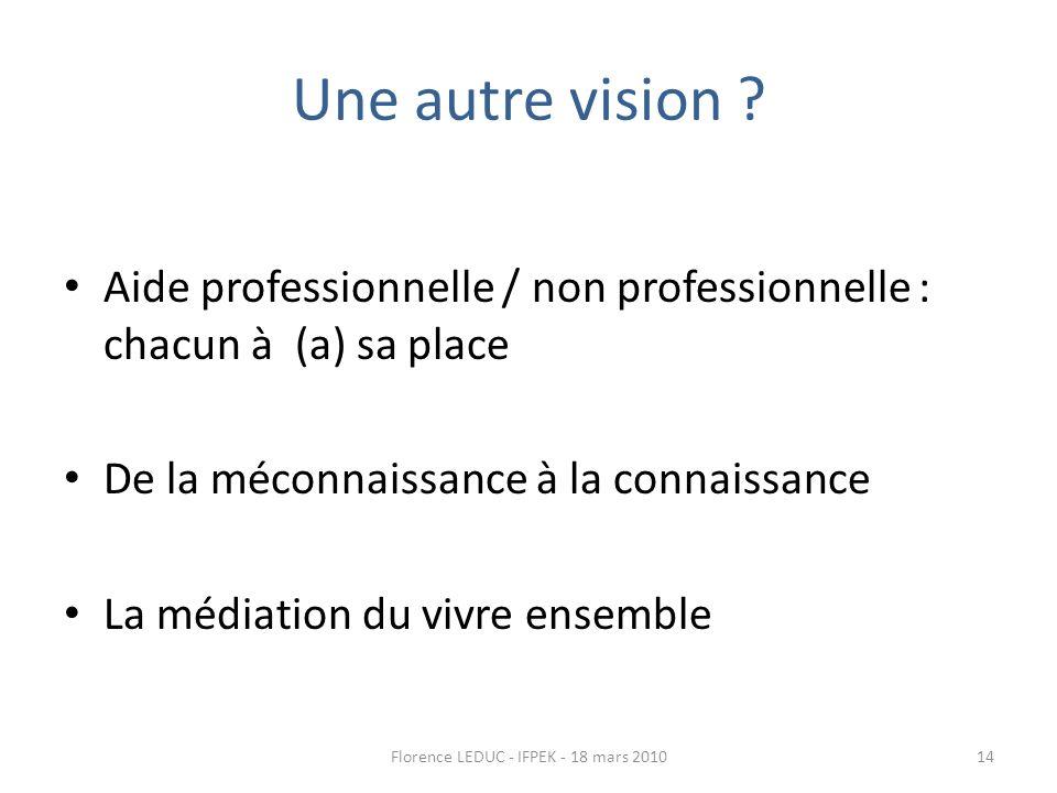 Une autre vision ? Aide professionnelle / non professionnelle : chacun à (a) sa place De la méconnaissance à la connaissance La médiation du vivre ens