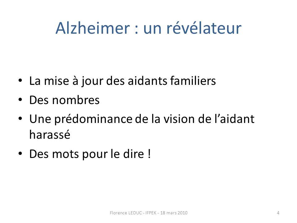 Alzheimer : un révélateur La mise à jour des aidants familiers Des nombres Une prédominance de la vision de laidant harassé Des mots pour le dire ! 4F