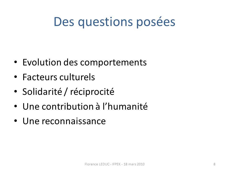 Des questions posées Evolution des comportements Facteurs culturels Solidarité / réciprocité Une contribution à lhumanité Une reconnaissance 8Florence LEDUC - IFPEK - 18 mars 2010