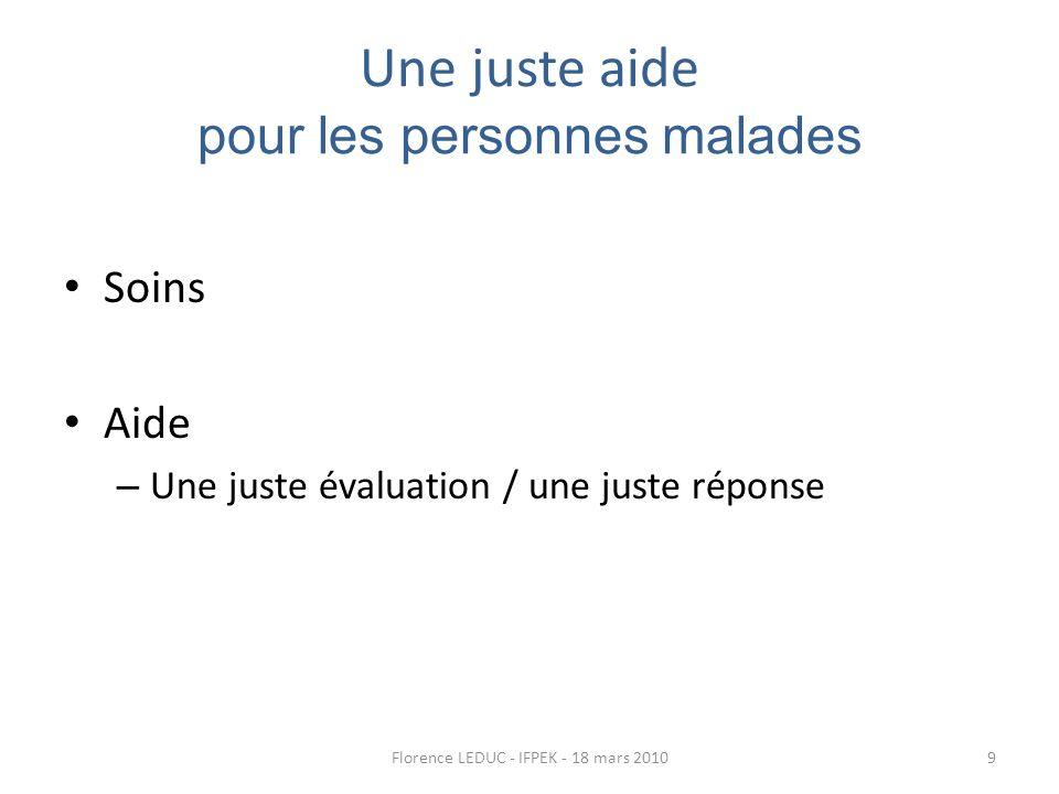 Une juste aide pour les personnes malades Soins Aide – Une juste évaluation / une juste réponse 9Florence LEDUC - IFPEK - 18 mars 2010