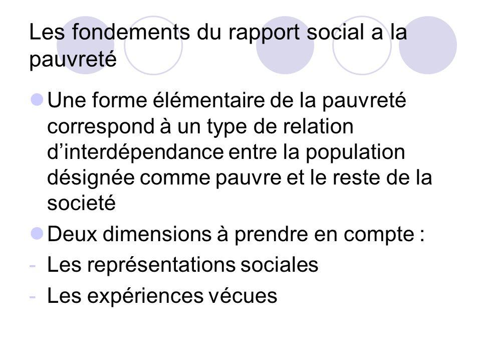 Les fondements du rapport social a la pauvreté Une forme élémentaire de la pauvreté correspond à un type de relation dinterdépendance entre la populat