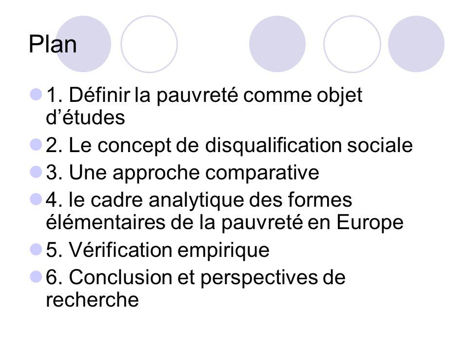Plan 1. Définir la pauvreté comme objet détudes 2. Le concept de disqualification sociale 3. Une approche comparative 4. le cadre analytique des forme